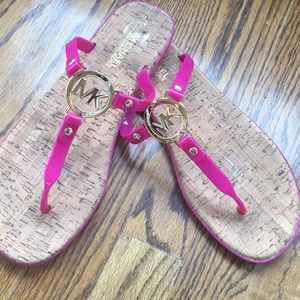 Pink and gold Michael Kors thong sandals